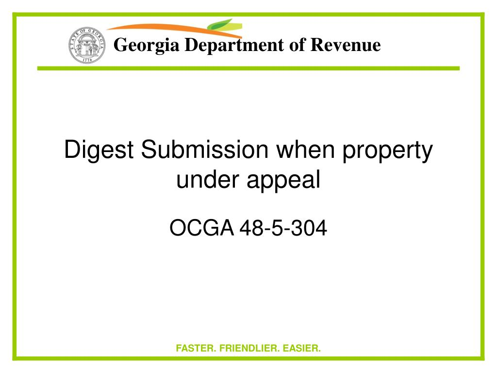 Digest Submission when property under appeal