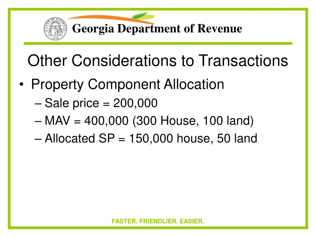 Other Considerations to Transactions