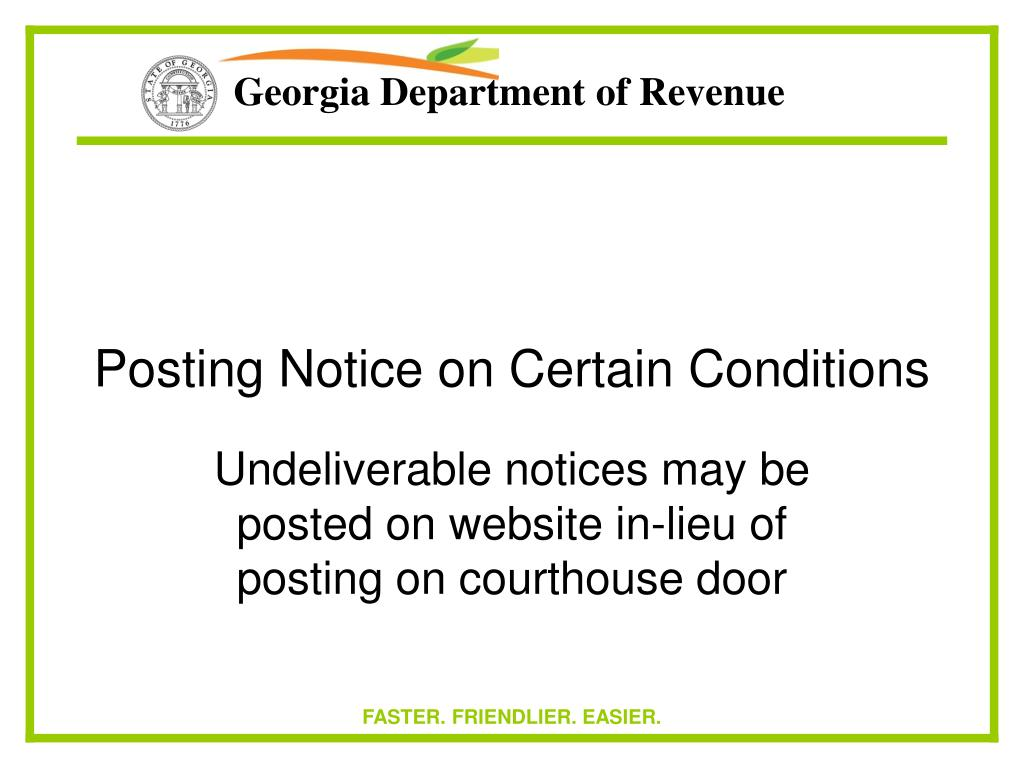 Posting Notice on Certain Conditions