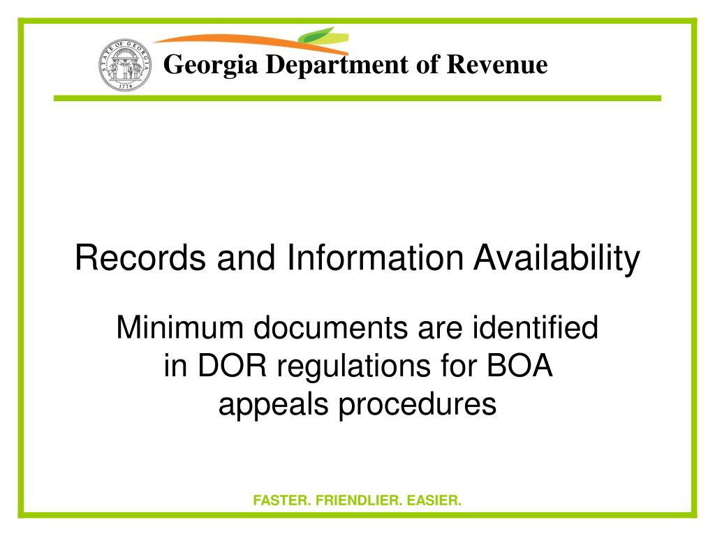 Records and Information Availability