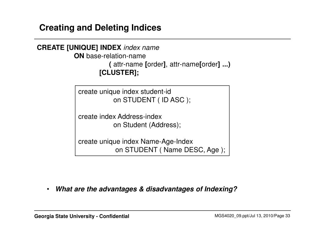 Creating and Deleting Indices