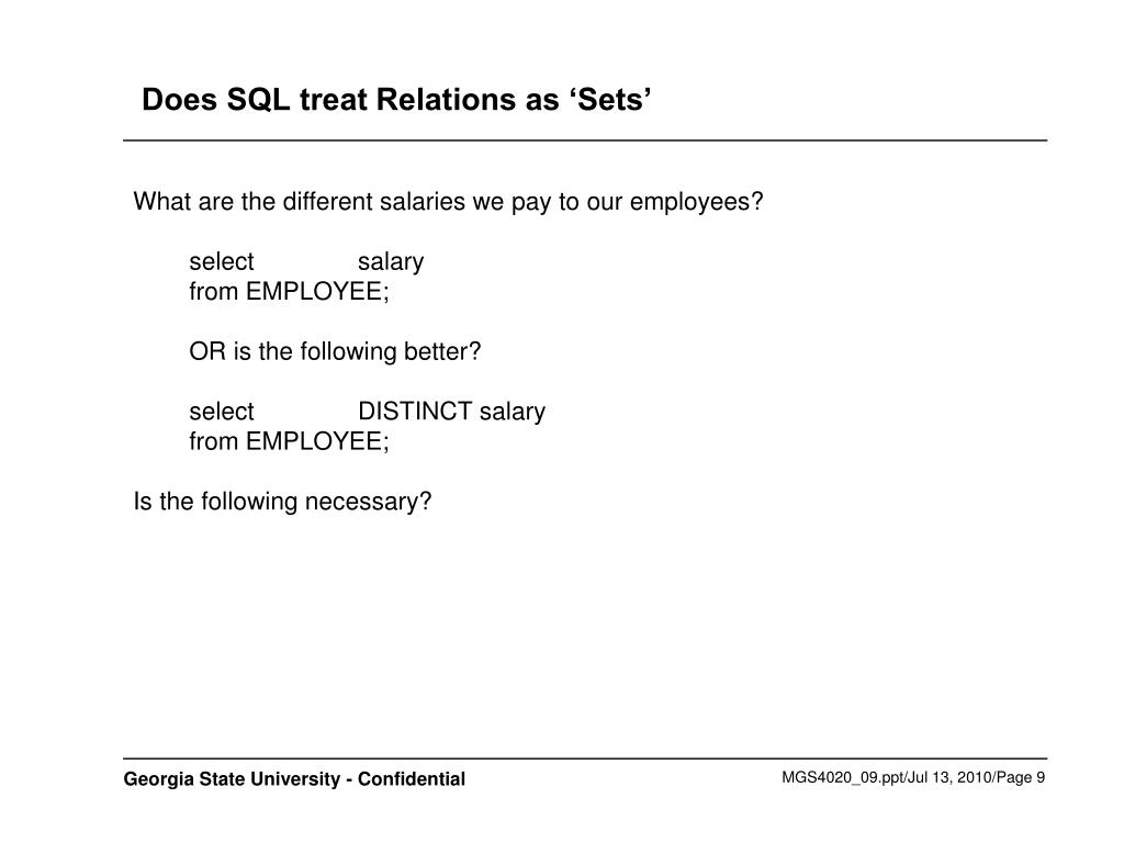 Does SQL treat Relations as 'Sets'