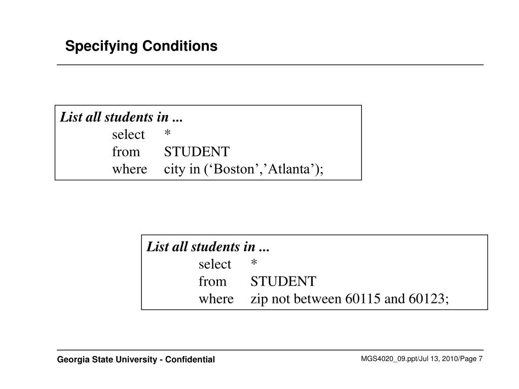 Specifying Conditions