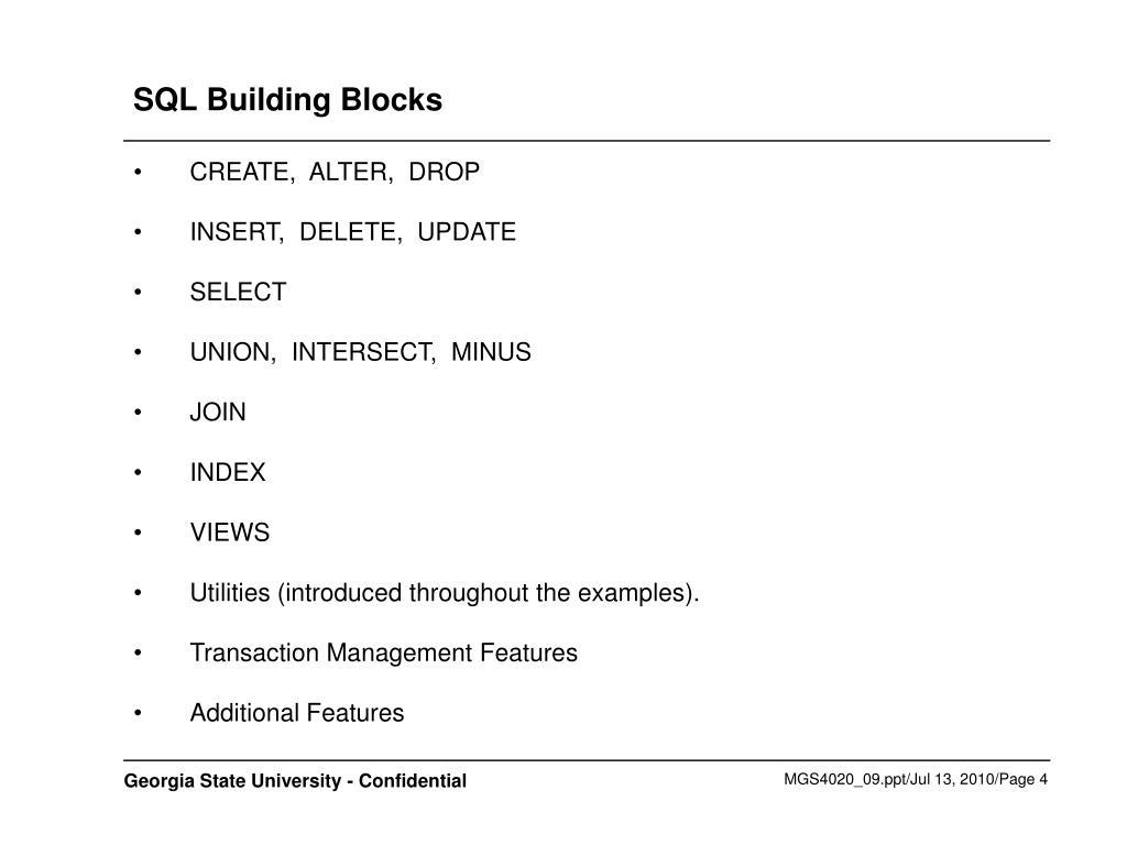 SQL Building Blocks