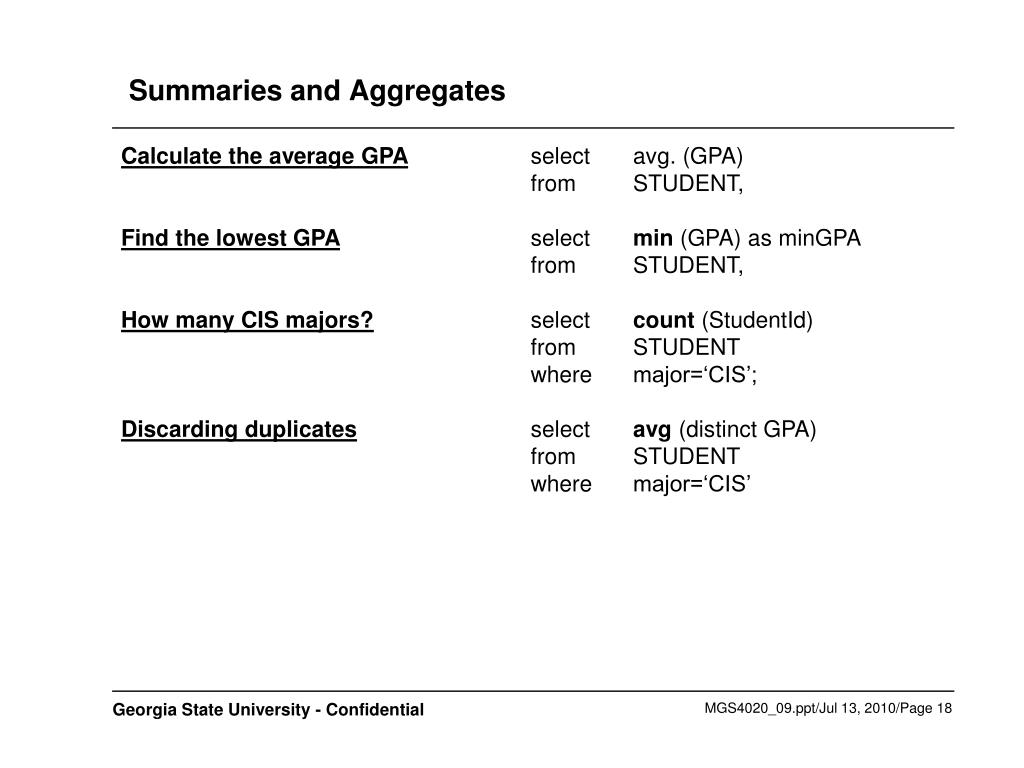 Summaries and Aggregates