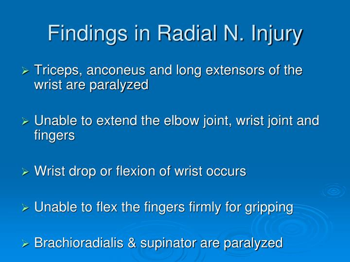 Findings in Radial N. Injury