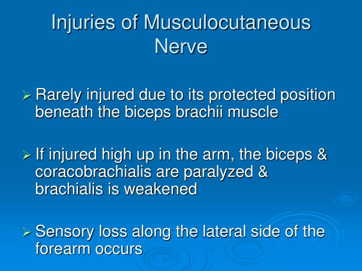 Injuries of Musculocutaneous Nerve