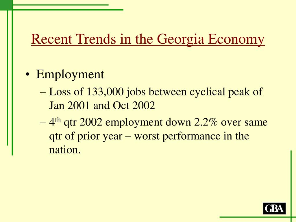 Recent Trends in the Georgia Economy