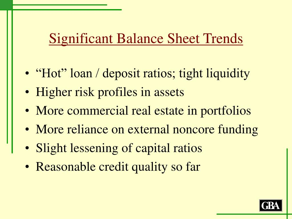 Significant Balance Sheet Trends
