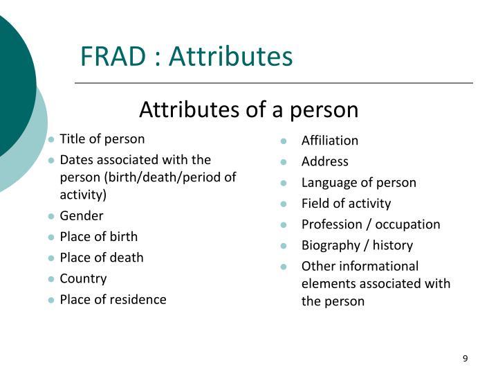 FRAD : Attributes