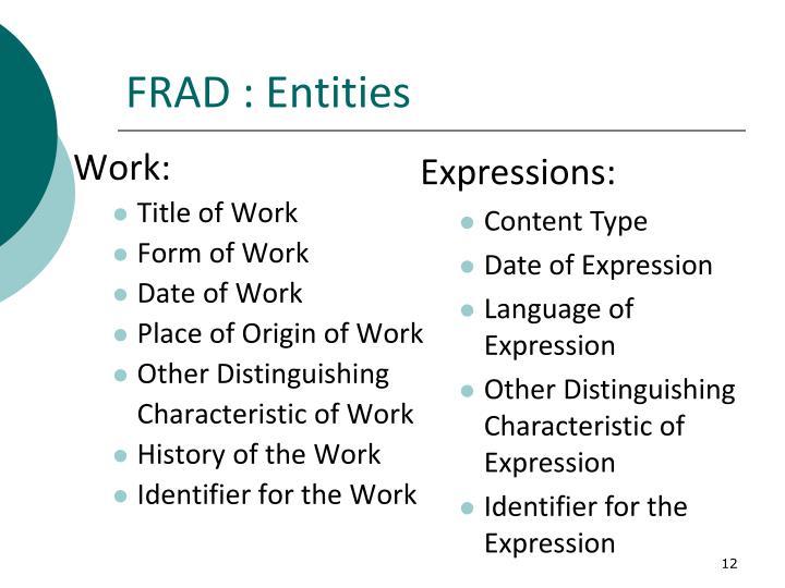 FRAD : Entities