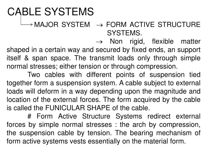 Cable systems