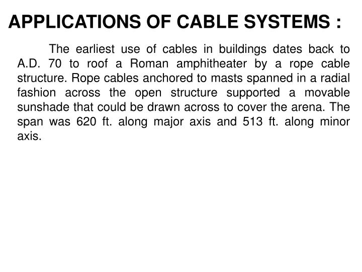 APPLICATIONS OF CABLE SYSTEMS :