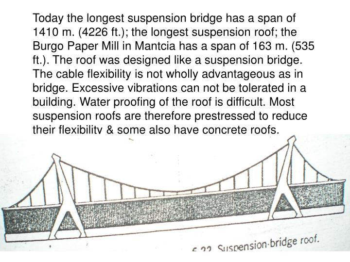 Today the longest suspension bridge has a span of 1410 m. (4226 ft.); the longest suspension roof; the Burgo Paper Mill in Mantcia has a span of 163 m. (535 ft.). The roof was designed like a suspension bridge. The cable flexibility is not wholly advantageous as in bridge. Excessive vibrations can not be tolerated in a building. Water proofing of the roof is difficult. Most suspension roofs are therefore prestressed to reduce their flexibility & some also have concrete roofs.