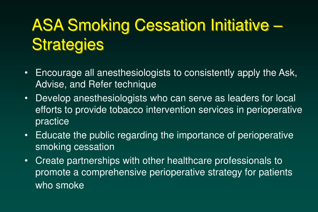 ASA Smoking Cessation Initiative – Strategies
