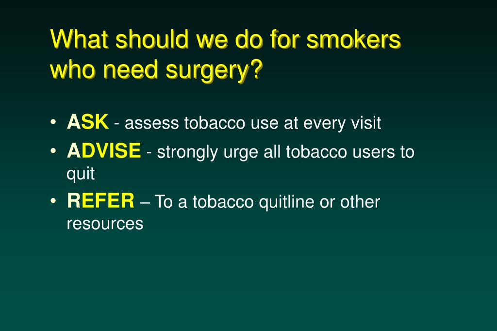 What should we do for smokers who need surgery?