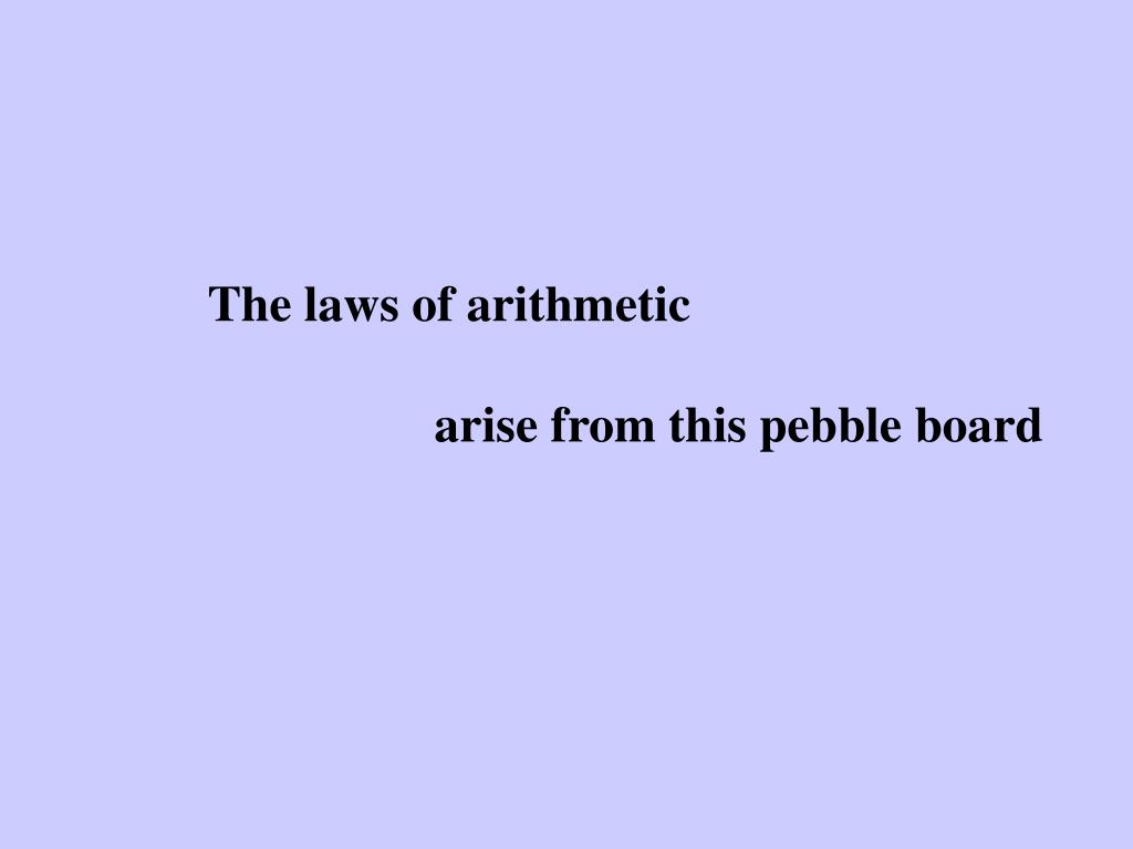 The laws of arithmetic