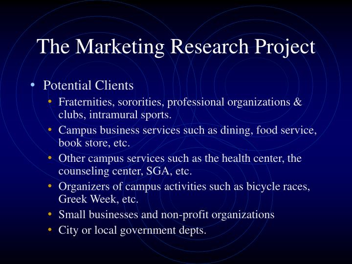 The marketing research project1