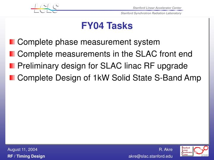 FY04 Tasks