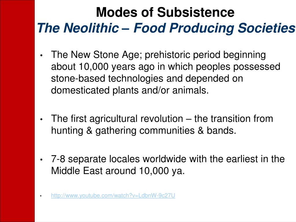 Modes of Subsistence