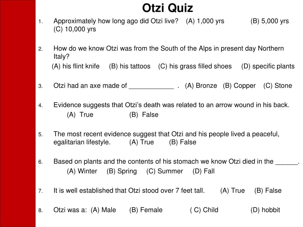 Otzi Quiz