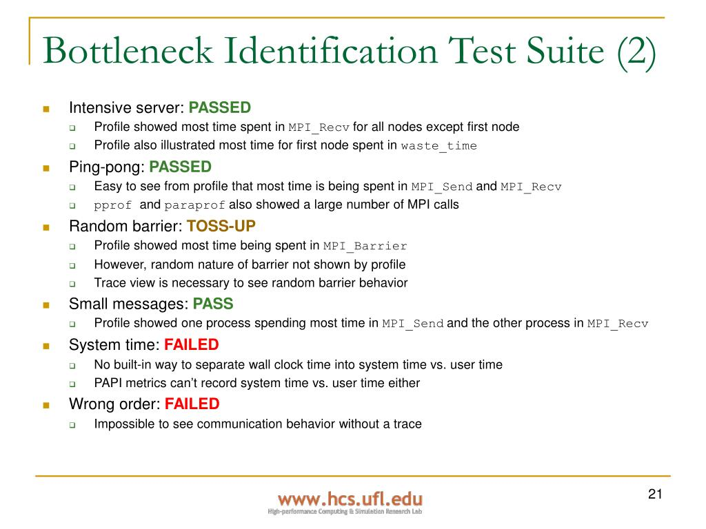 Bottleneck Identification Test Suite (2)