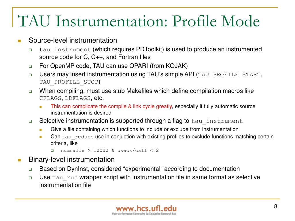 TAU Instrumentation: Profile Mode