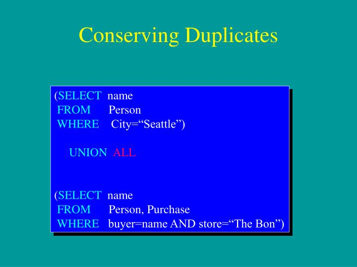 Conserving Duplicates