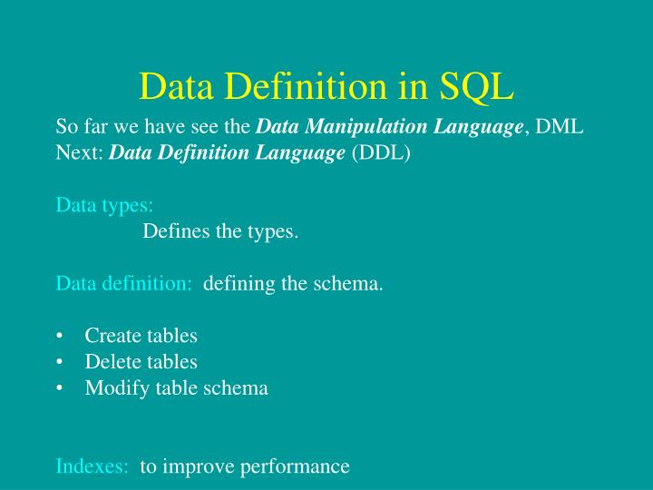 Data Definition in SQL