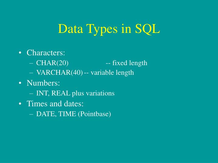Data Types in SQL