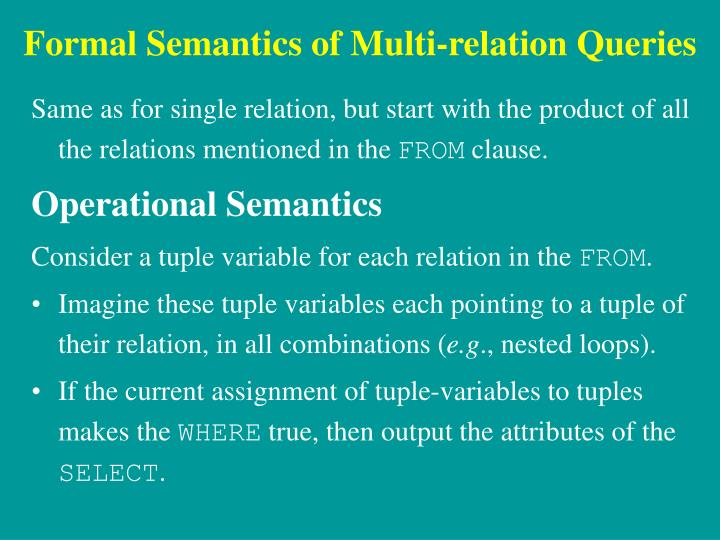 Formal Semantics of Multi-relation Queries