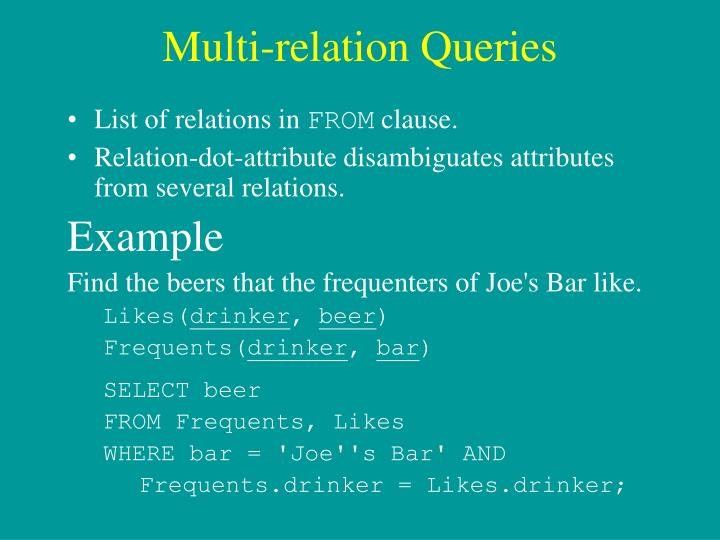 Multi-relation Queries