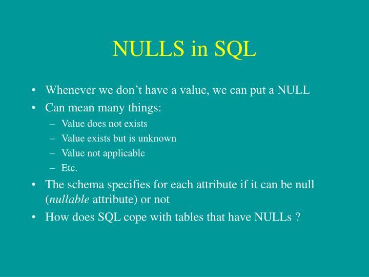NULLS in SQL