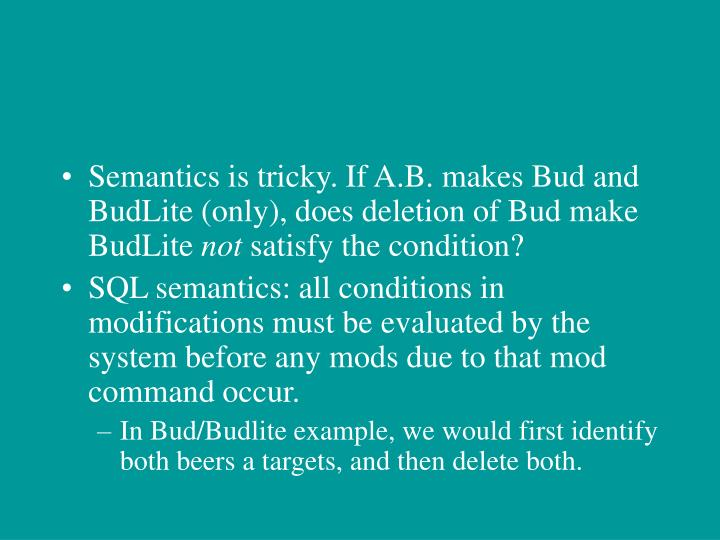 Semantics is tricky. If A.B. makes Bud and BudLite (only), does deletion of Bud make BudLite