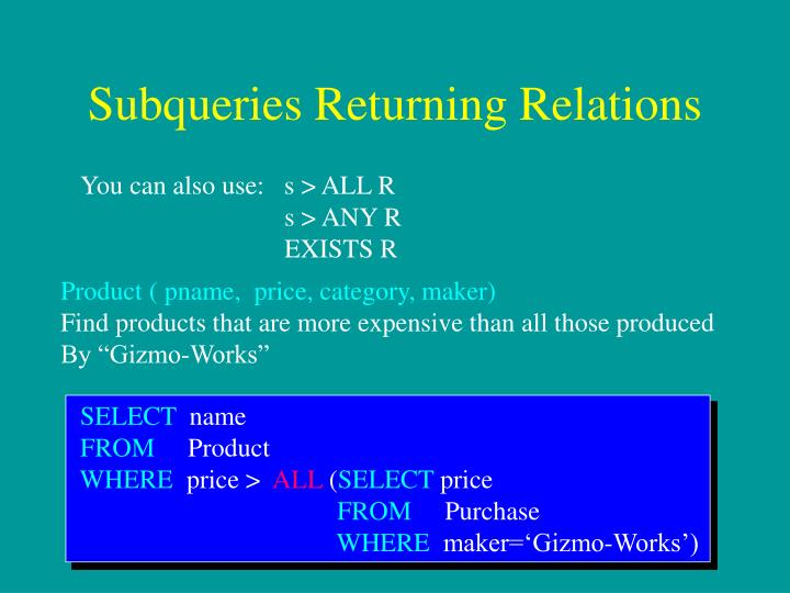 Subqueries Returning Relations