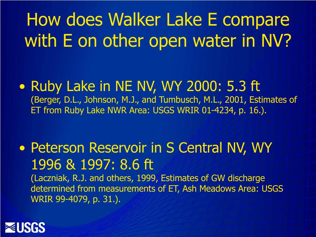 How does Walker Lake E compare with E on other open water in NV?