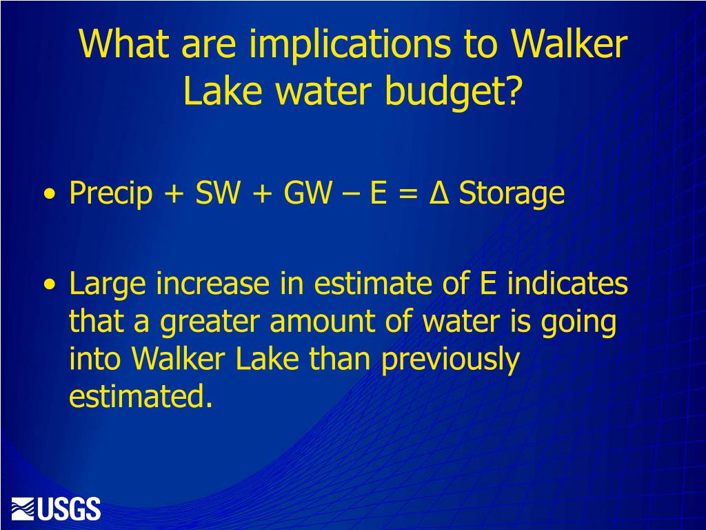 What are implications to Walker Lake water budget?