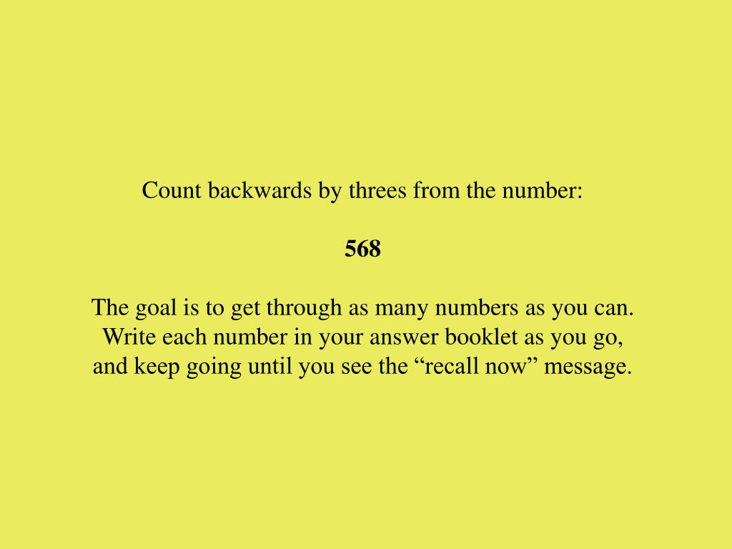 Count backwards by threes from the number: