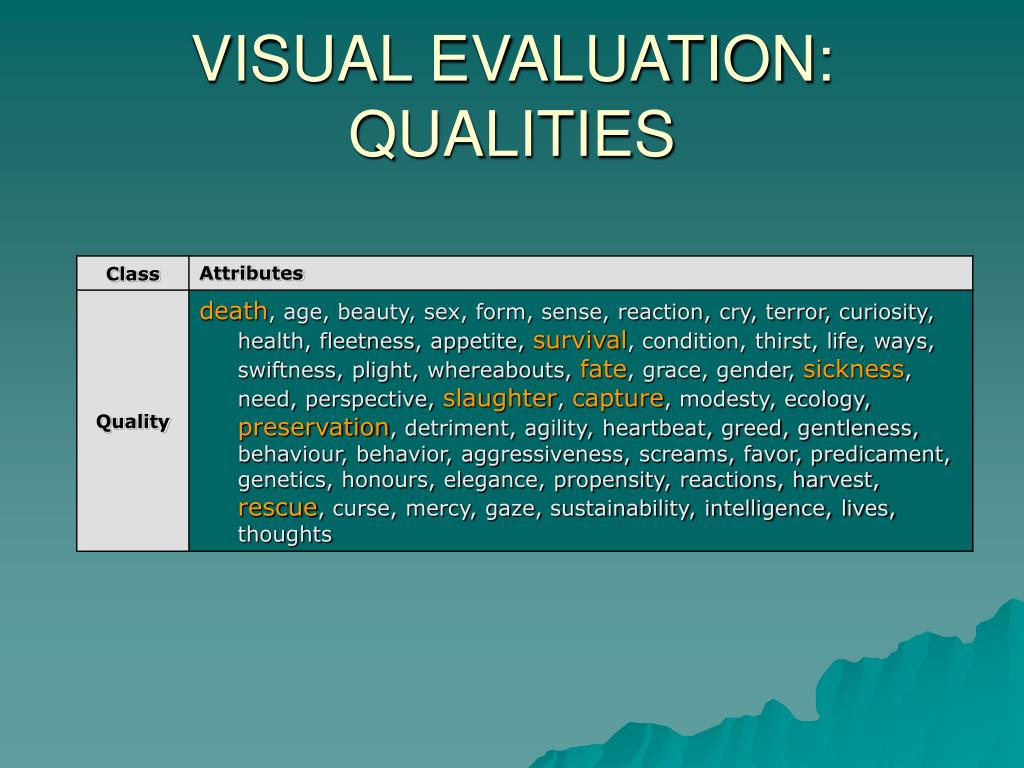VISUAL EVALUATION: QUALITIES