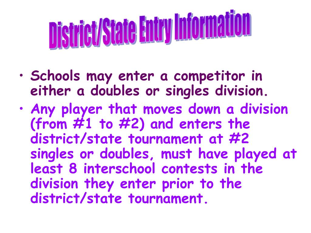 Schools may enter a competitor in either a doubles or singles division.