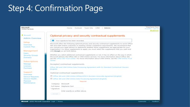 Step 4: Confirmation Page