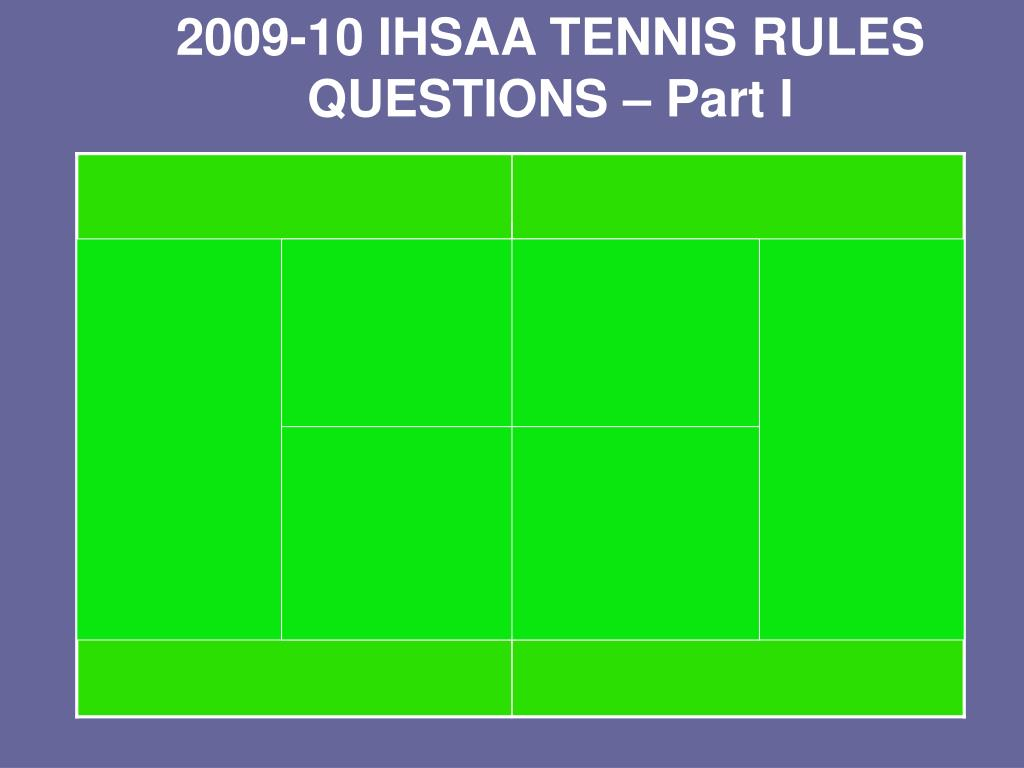 2009-10 IHSAA TENNIS RULES QUESTIONS – Part I