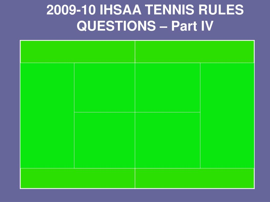 2009-10 IHSAA TENNIS RULES QUESTIONS – Part IV