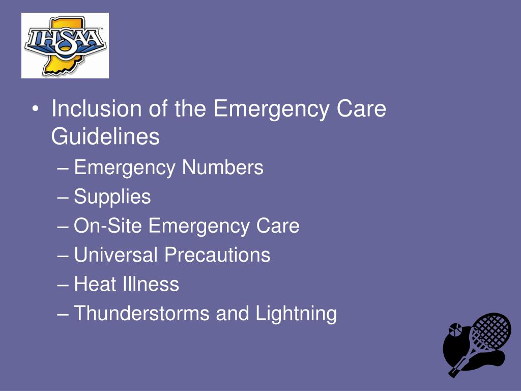 Inclusion of the Emergency Care Guidelines