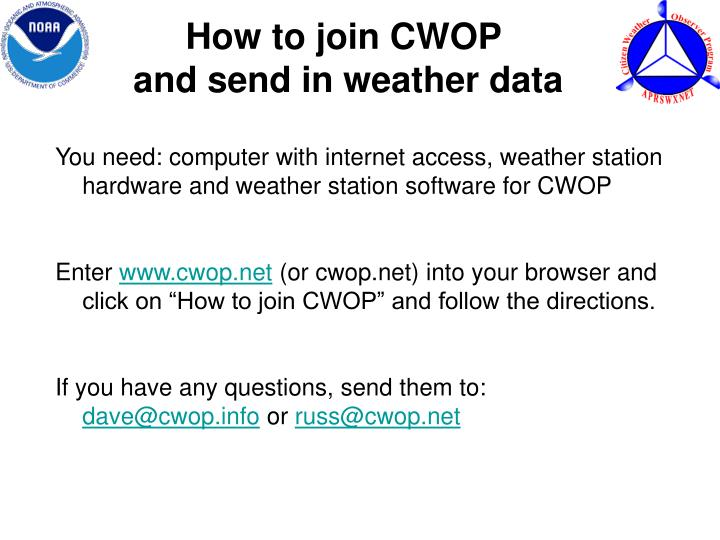 How to join CWOP