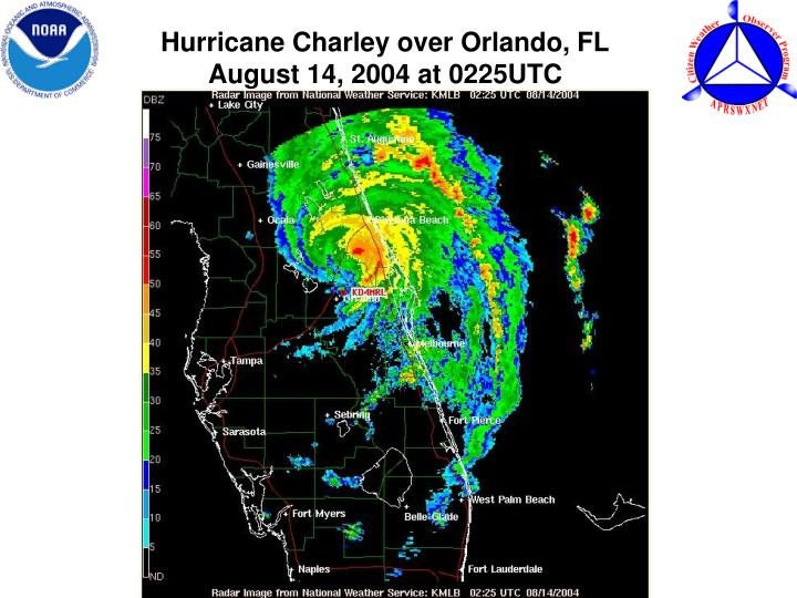 Hurricane Charley over Orlando, FL