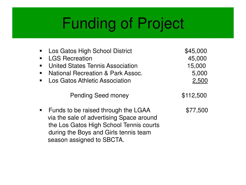 Funding of Project