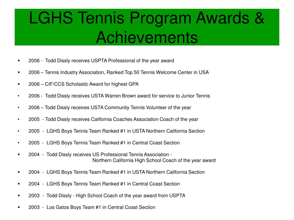 LGHS Tennis Program Awards & Achievements