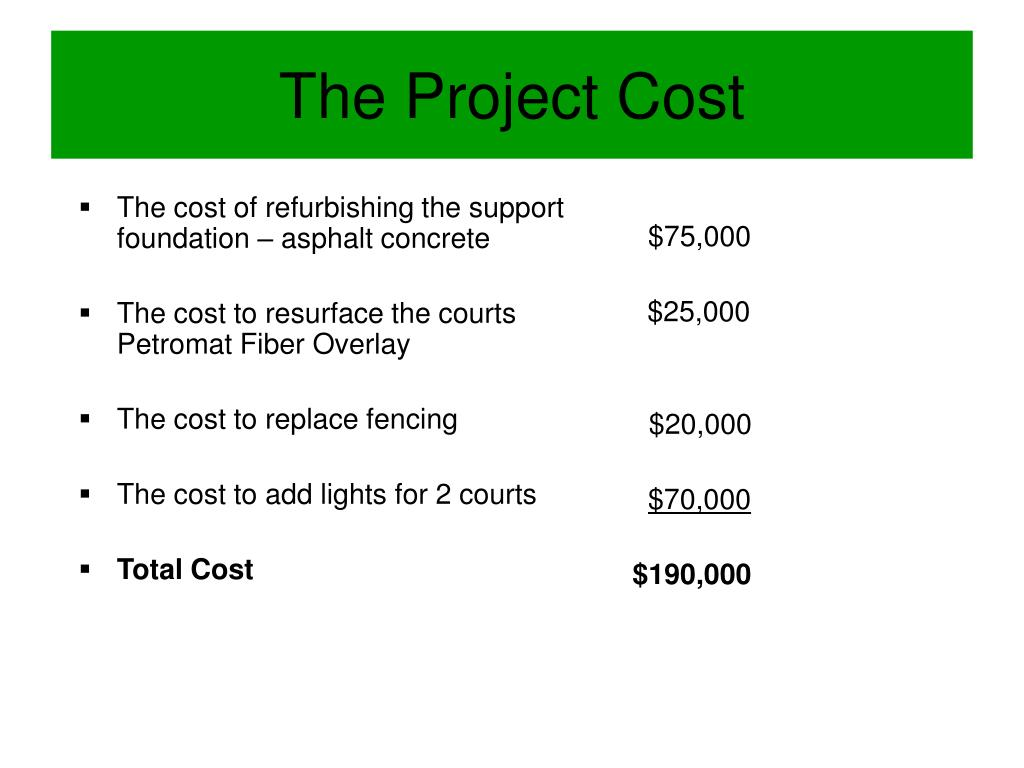 The cost of refurbishing the support foundation – asphalt concrete