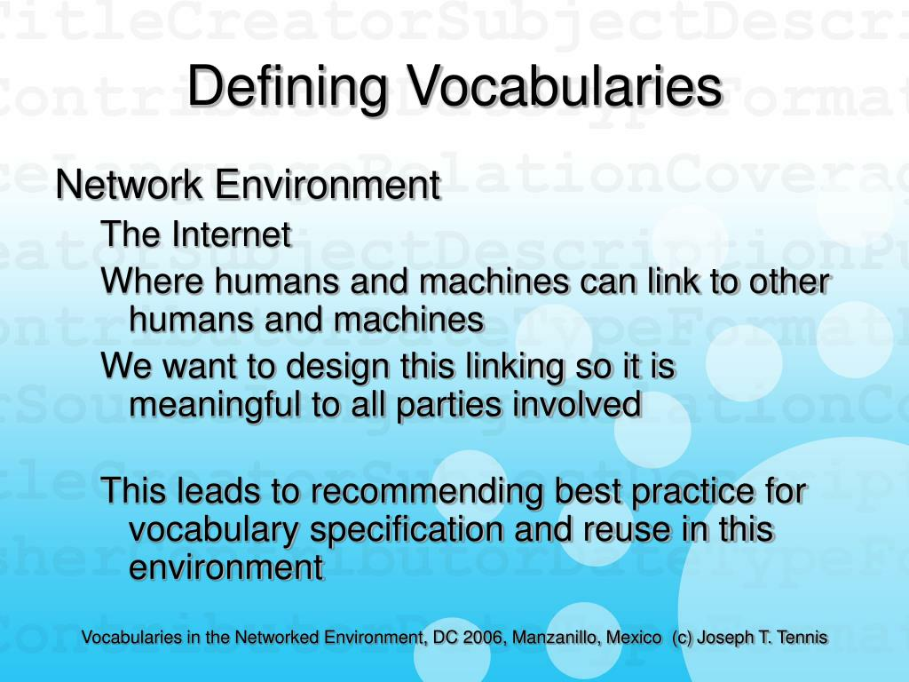 Defining Vocabularies